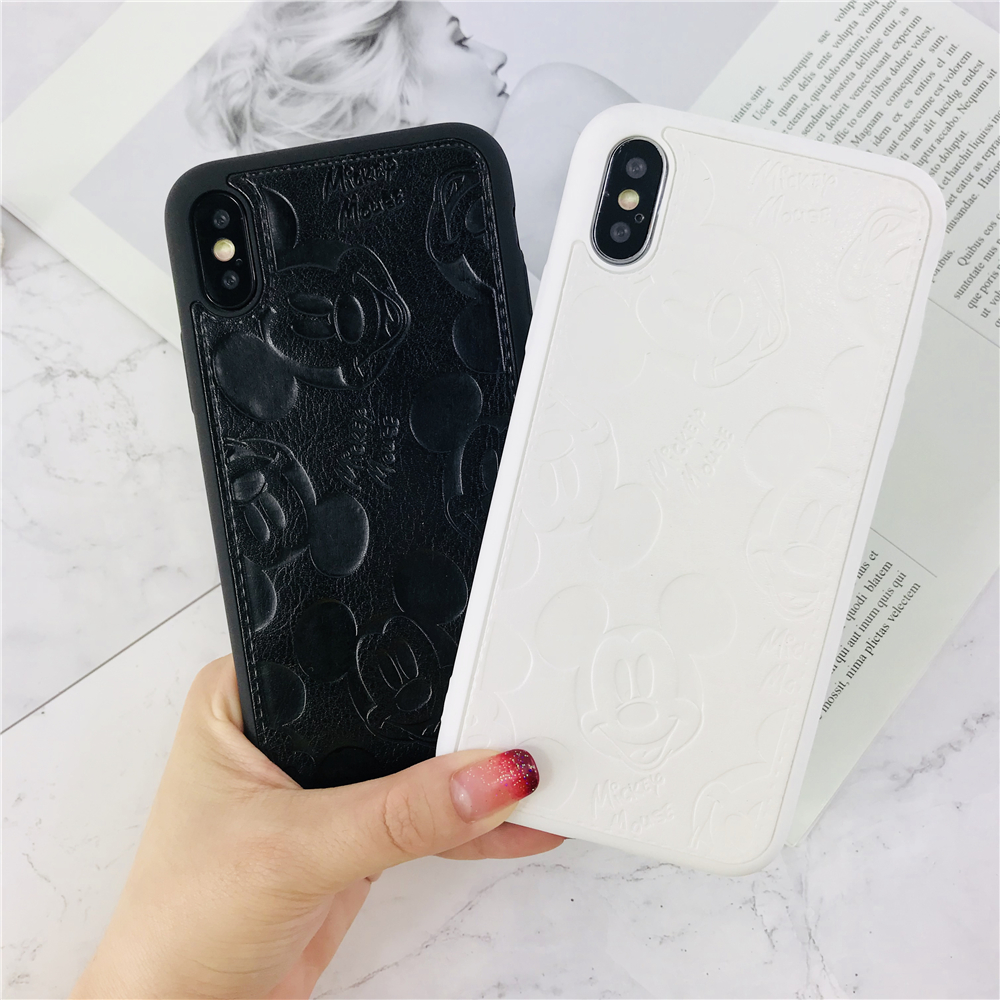 Case For iPhone 7 Cute Mickey Mouse Phone Case For iPhone 7 Plus Cartoon patterned PU Leather Cover Soft Girl Style Fundas Caque