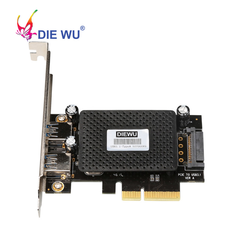 PCI E X4 to Dual USB3.1 Type A Expansion Card with 15 Pin SATA Power 10Gbps Adapter ASM1142 Chip add on card-in Add On Cards from Computer & Office on AliExpress - 11.11_Double 11_Singles' Day 1