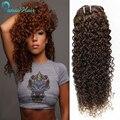Перуанский Девственных Человеческого Волоса связки afro Kinky Вьющиеся волосы, 5 пучка дело мокрый и волнистые Человеческие Волосы Ткет Странный Вьющиеся Светло-Коричневый
