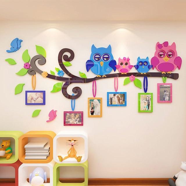 cute children room decoration photo wall cartoon owl 3d kindergarten