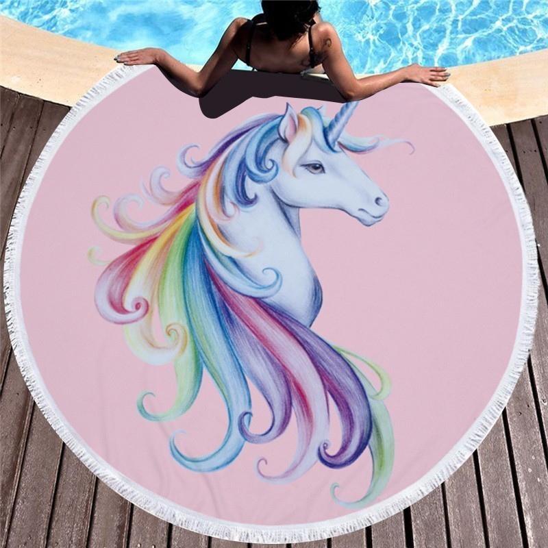 2018 Style Unicorn Round Beach Bath Towel With Tassels Microfiber 150cm Wall Tapestry Bi ...