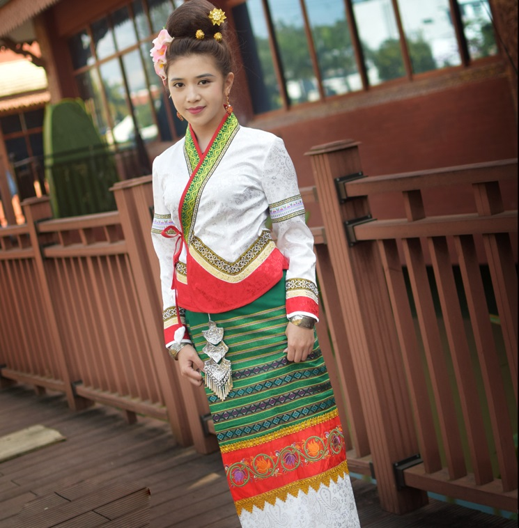 Thailand Traditional Retro Dai Orange White Green Ethnic minority Festival Dresses Yunnan Dai Princess Clothes Jacket + Skirt