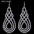 Mecresh Gorgeous Silver Plated Crystal Bridal Wedding Jewelry Geometric Long Drop Earrings For Women EH321
