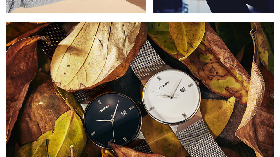 SINOBI Men Quartz Watch Luxury Top Brand Fashion Mesh Delicate Ultra-thin Business Watch Full Stainless Steel Male Wrist Watches 18