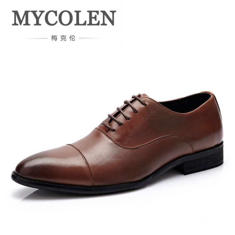MYCOLEN Luxury Genuine Cow Leather Men Wedding Oxford Shoes High Quality Brand Lace-Up Office Suit Men's Dress Shoes men shoes wedding dress italian style men oxford genuine leather lace up black flats shoes luxury brand shoes sapatos homens