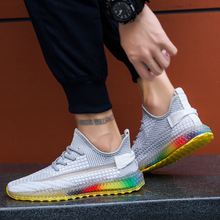 2019 Hot  Male Shoe 4D Rainbow Bottom Coconut  Ventilation Fly Fabric Motion Casual Shoes Fish Silk Screen Noodles Nice Shoes