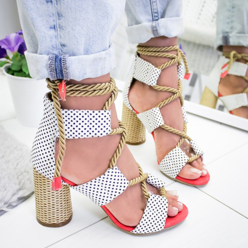 Women Sandals Lace Up Summer Shoes Woman Heels Sandals Pointed Fish Mouth Gladiator Sandals Woman Pumps Hemp Rope High Heels