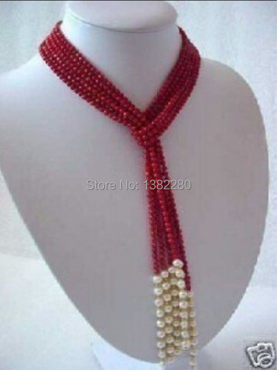 ! 5MM Charming Red Coral & White Pearl Scarf Necklace 50