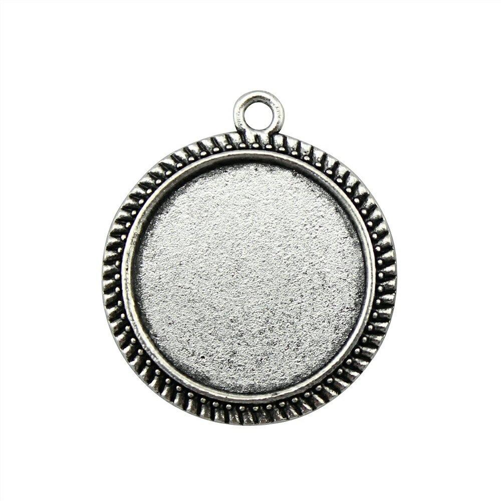 10 Stücke 20mm Innere Größe (29x25mm Äußere Größe) Vintage Antike Silber, Antike Bronze Zink-legierung Cameo Cabochon Einstellung