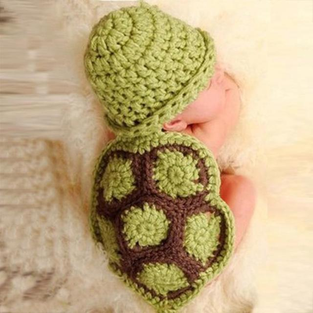 Green Turtle Baby Hat with Cape Set Children Photography Props Newborn Baby  Crochet Animal Beanie Costume Set 856612032fc