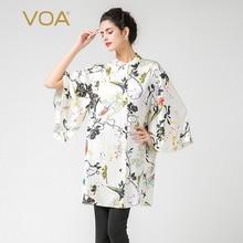 VOA Women's Silk White Floral Print Three Quarter Sleeve Top Blouse Batwing Shirt B7338
