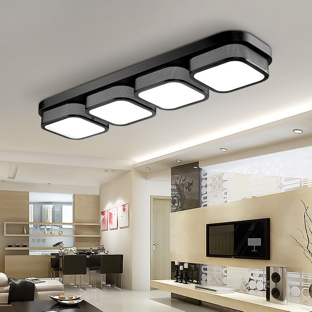 US $42.07 40% OFF|Beliebte wohnzimmer Decke Lichter schlafzimmer plafon led  lampe luminarias hause dekoration schwarz/weiß acryl schatten lampada in ...