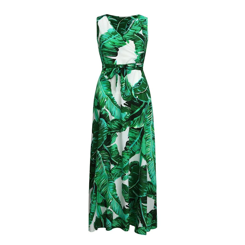 Bohemian Floral Print Long Dress For Women Plus Size Sexy Deep V Neck High Waist Bandage Bow Tie Maxi Sundress Pleated Vestidos