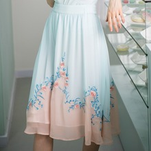 LYNETTE'S CHINOISERIE Goldenbarr water blue rose flower exquisite patchwork embroidery irregular big skirt bust skirt