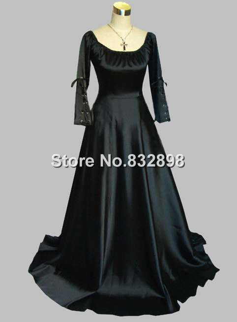 Gothic Black Thick Silk-like Scoop Neck Long Sleeve Victorian Era Dress