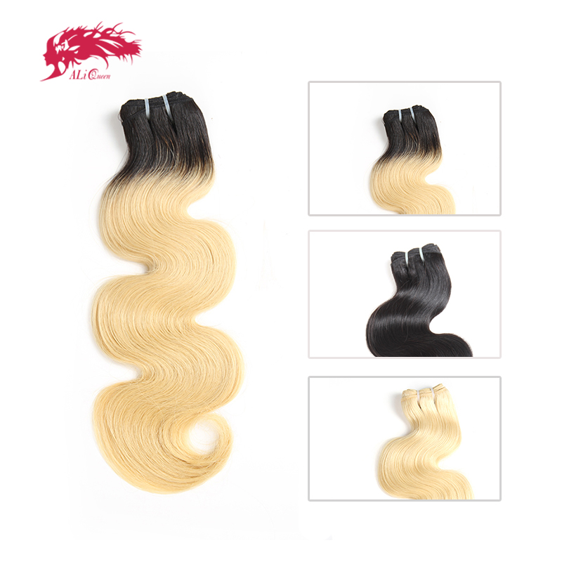 Ali Queen Products Brazilian 1/3/4 Pcs Unprocessed Virgin Hair Body Wave Human Hair Bundles Blonde 613/Natural Black/1b-613