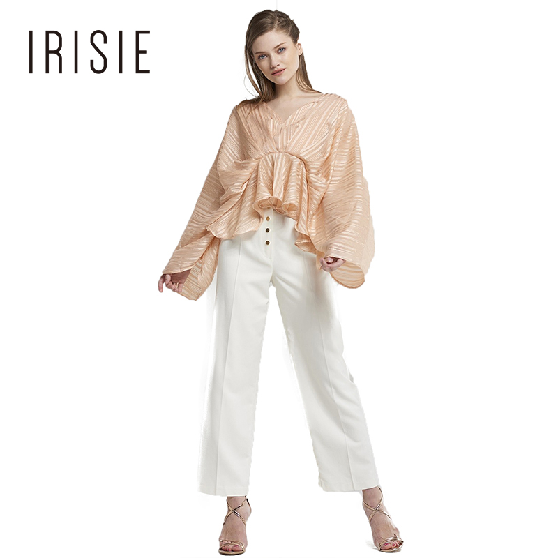 Irise Women 2018 New Arrival Gold Stripe Print Frills Tops Blouse Long Wide Sleeve V Neck Zipper Back Party Shirt