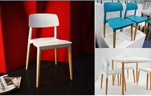 office plastic PP chair wood leg black white computer chair dining room stool free shipping