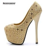 2017 kadın Düğün Platform Ayakkabılar Kadın Yüksek Topuklu Sevgililer Ayakkabı kadın 16 cm Ultra Yüksek Topuklu Kadın Pompaları Boyutu 41 glod kırmızı
