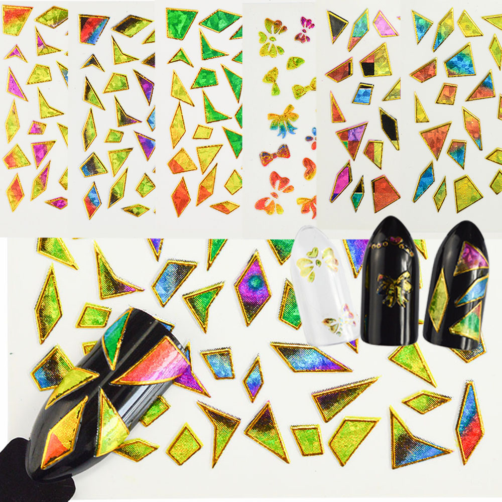 1sheet Broken Glass Nail Art Stickers Holographic Foil