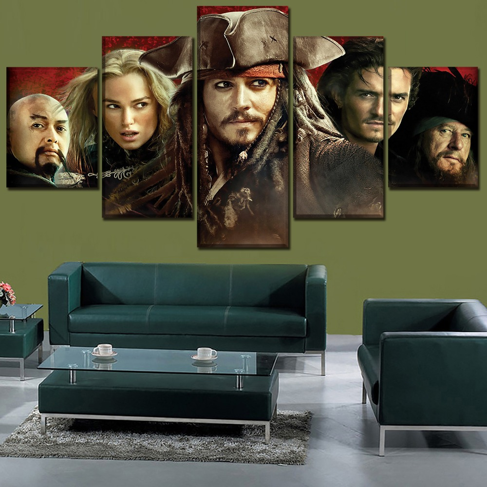 Modern Artwork Home Decor Painting 5 Panel Movie Pirates Of The Caribbean Characters Poster Decor One Set Framework Or Unframed
