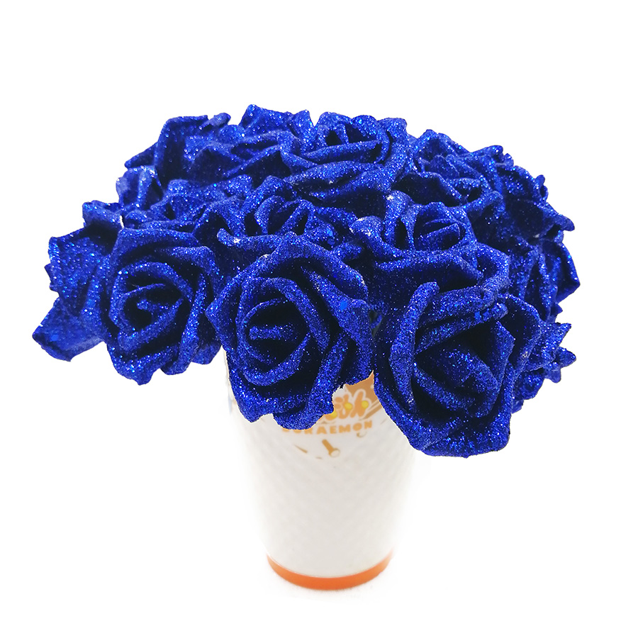 Blue Valentines Day Gifts Real Touch Flowers Rose Silk Flowers
