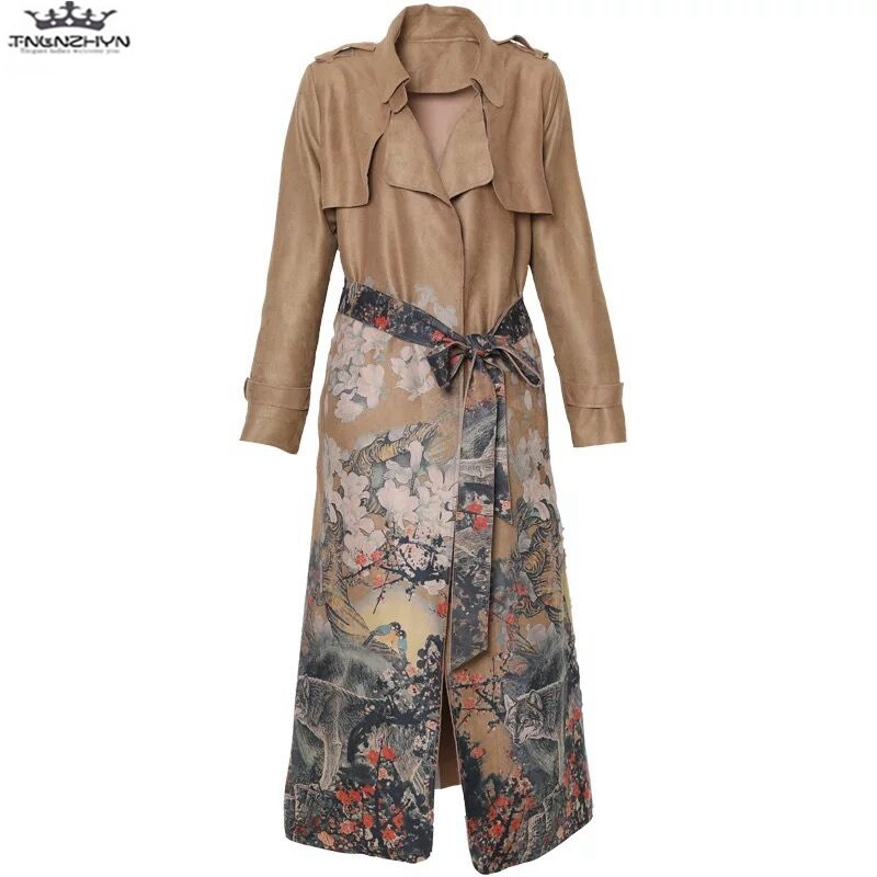 tnlnzhyn 2019 New Spring Autumn Women Coat Fashion Printing Long Sleeve Suede   Trench   Coat Casual   Trench   Coat Slim Outerwear Y614