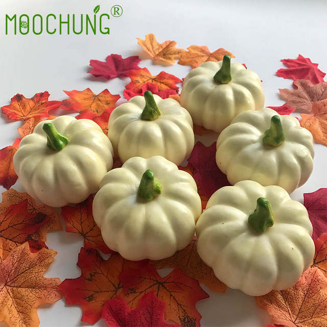 ea0e855c2e5 Online Shop Decorative White Artificial Pumpkin For Halloween Autumn Fall  Thanksgiving Harvest Home Kitchen Decoration Gourds Maple leaves |  Aliexpress ...