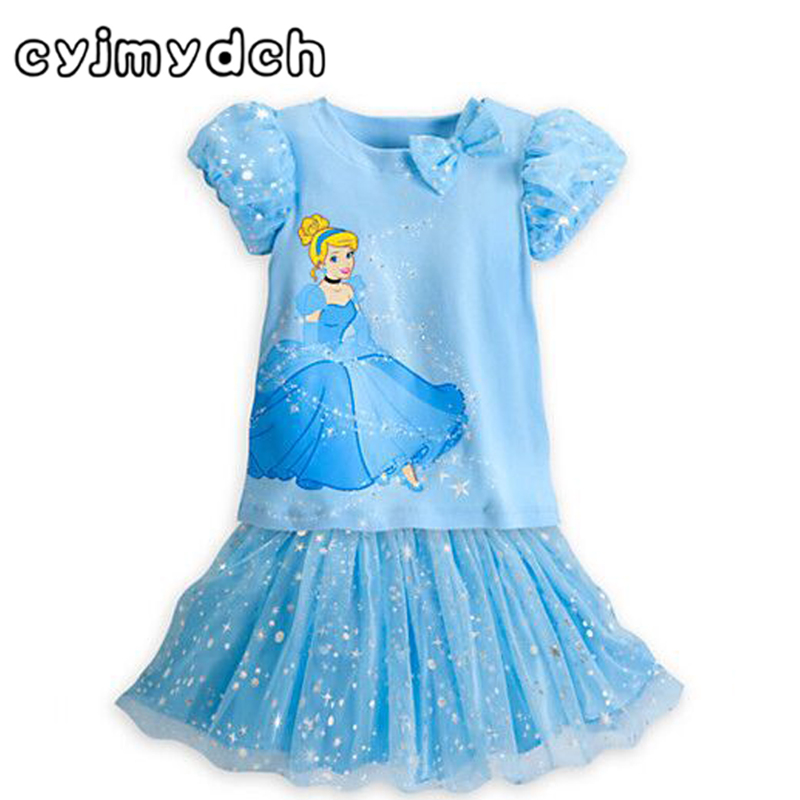 Cyjmydch 2015 summer style Cinderella Girl Dress Princess Dresses for party two pieces dress girl clothes vestido infanti 2015 new style movies cinderella princess dresses for kids nice blue princess dresses cinderella fancy costumes child s clothes
