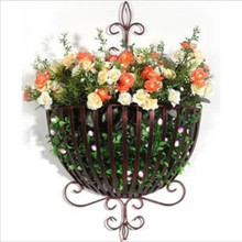 High Quality Clasic Iron Wall Flower Baskets Hanging Basket Pots Flowerpot Shelf Home Decoration Wall Plants Shelf