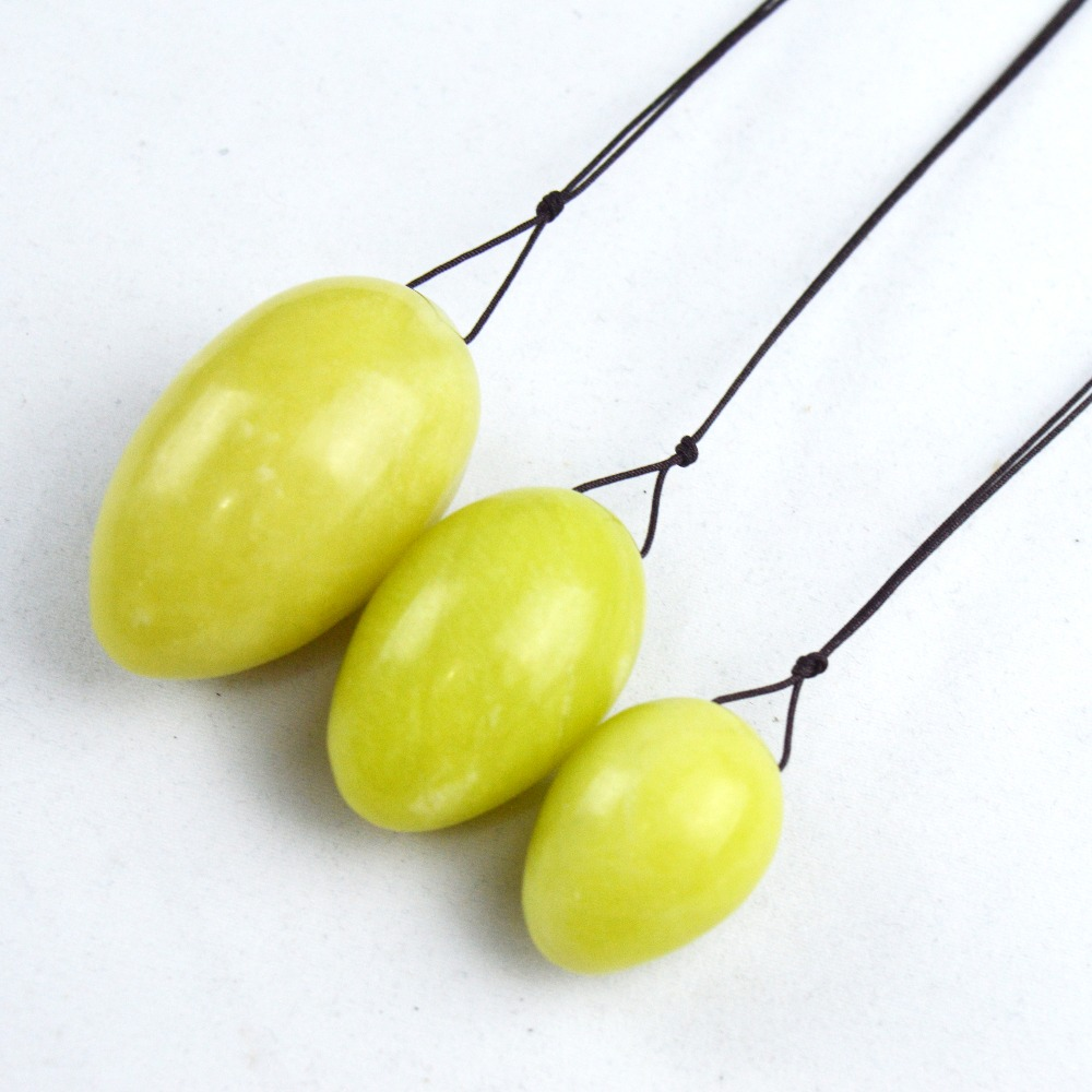 1 Set natural jade egg with brown string for kegel exercise pelvic floor muscles vaginal exercise yoni egg ben wa ball