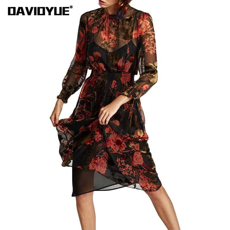 Vintage Floral Print Chiffon Dress women Mesh Elastic Waist Midi Dress 2017 swxy two pieces long sleeve summer dress Vestidos floral chiffon dress long sleeve