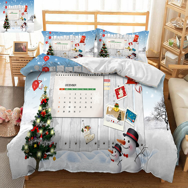 Bed Set Luxury Twin King Queen Bedding Sets Bedsheet Pillowcase Duvet Cover Beautiful Christmas Tree Decorate Bedroom