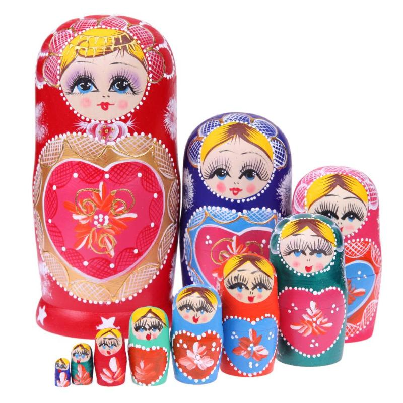 Wooden Toys 10pcs Matryoshka Doll Set Russian Nesting Babushka Matryoshka Hand Paint Heart Shape Crafts Wood Toy