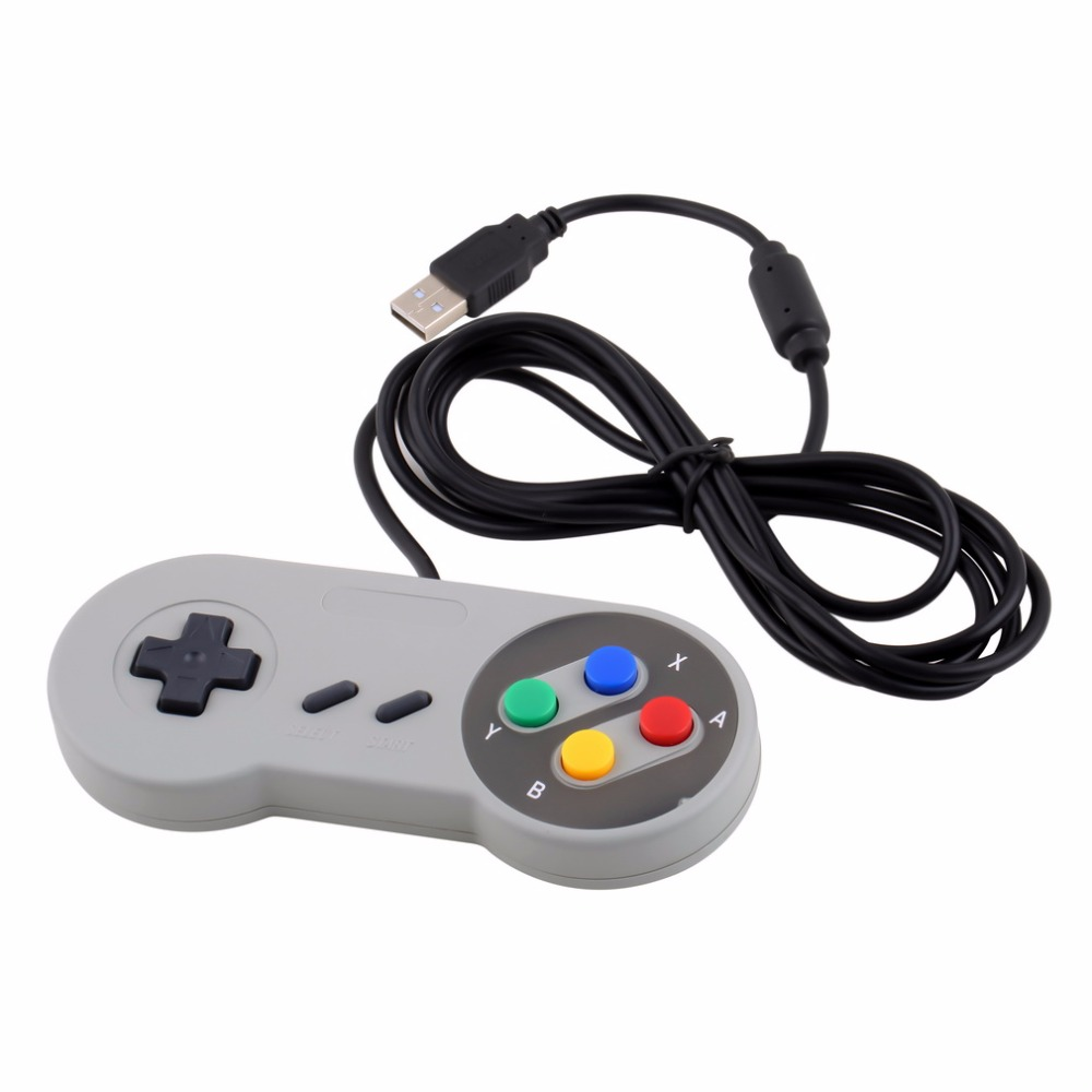 Super Controller USB Wired Gamepad Joypad for Nintendo for Windows for Mac SF SNES PC Home Gamer Gaming Controller Grey