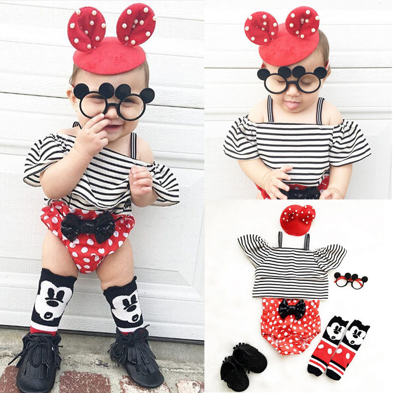 2017 New Fashion Baby Girl Clothes Summer Off shoulder Striped Crop Top +Polka Dot Bow Bloomers Bottom 2PCS Outfit Clothing Set 2017 new fashion kids clothes off shoulder camo crop tops hole jean denim pant 2pcs outfit summer suit children clothing set