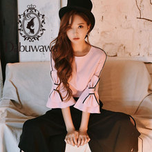 Dabuwawa Spring Pink Loose Bow Blouses Women 2019 New Sweet Flare Sleeve Fashion Elegant Shirts Top for Office Lady DN1AST006