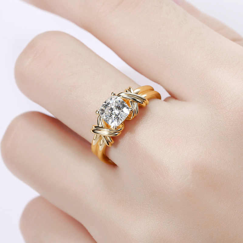 Женский большой белый циркон любовь кольцо Винтаж желтый крестик позолоченный обручальное кольцо Модные кольца для помолвки/обязательства для женщин