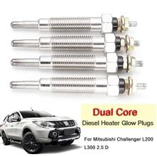 4 шт./компл. автомобиля Dual Core Для дизельный Обогреватель Свеча зажигания для Mitsubishi Challenger L200 L300 2,5 D 4D56