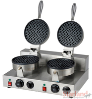 Commercial Waffle Machine Stainless Steel Double Heads Non stick Waffle Baking Machine