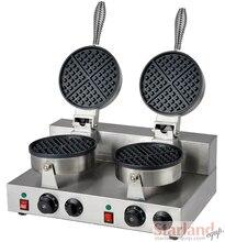 Cabezas Dobles de Acero Inoxidable antiadherente de Gofres comercial Waffle Máquina de Hornear