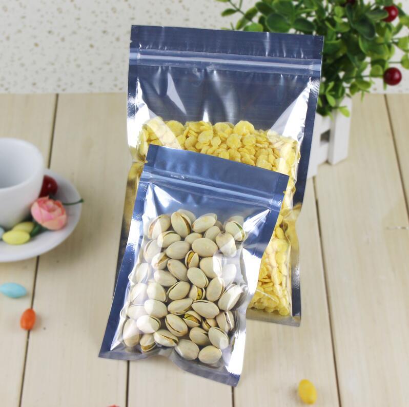 100 Pcs Clear Aluminum Foil Bag Self Seal Zipper Ziplock Packing Food Bag Retail Resealable Baking Packaging Bag Pouch