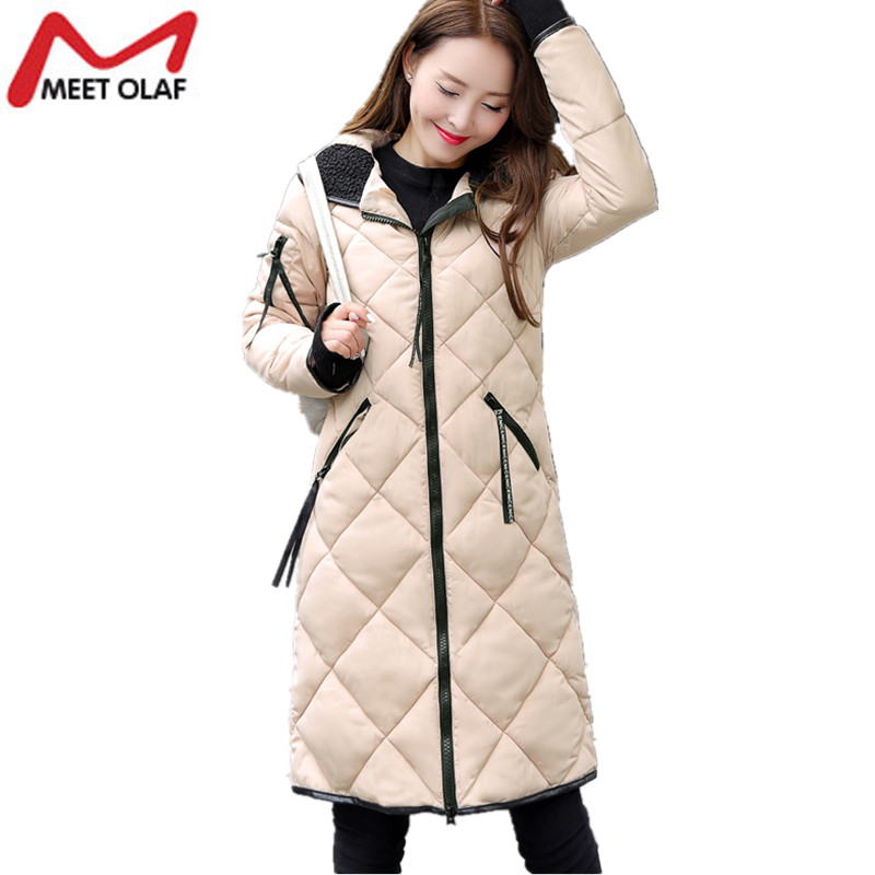 Women Winter Jacket and Coat 2017 New Long Cotton-Padded Waterproof Parkas Female Warm Wadded Outerwear Overcoat casacos YL484 linenall women parkas loose medium long slanting lapel wadded jacket outerwear female plus size vintage cotton padded jacket ym