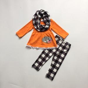Image 2 - new baby girls FALL/Winter Halloween 3pieces scarf black top pant sets cotton pumpkin plaid pom pom boutique children clothes