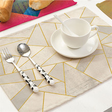 Colorful Geometric Printed Kitchen Place mat Dining Table Mat Coaster Cotton Linen Pads Cup Mats 42*32cm Home Decor
