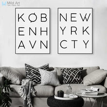 New York City Black White Typography Minimalist Poster A4 Nordic Living Room Wall Art Canvas Painting Modern Home Decor No Frame(China)