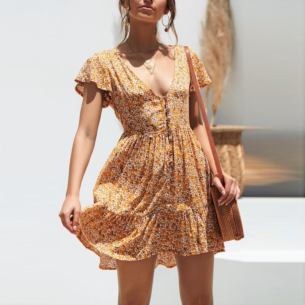 2019 Boho Casual Print Floral Dress Women Summer Floral Party Evening Beach Short Mini Dress Sundress Z4