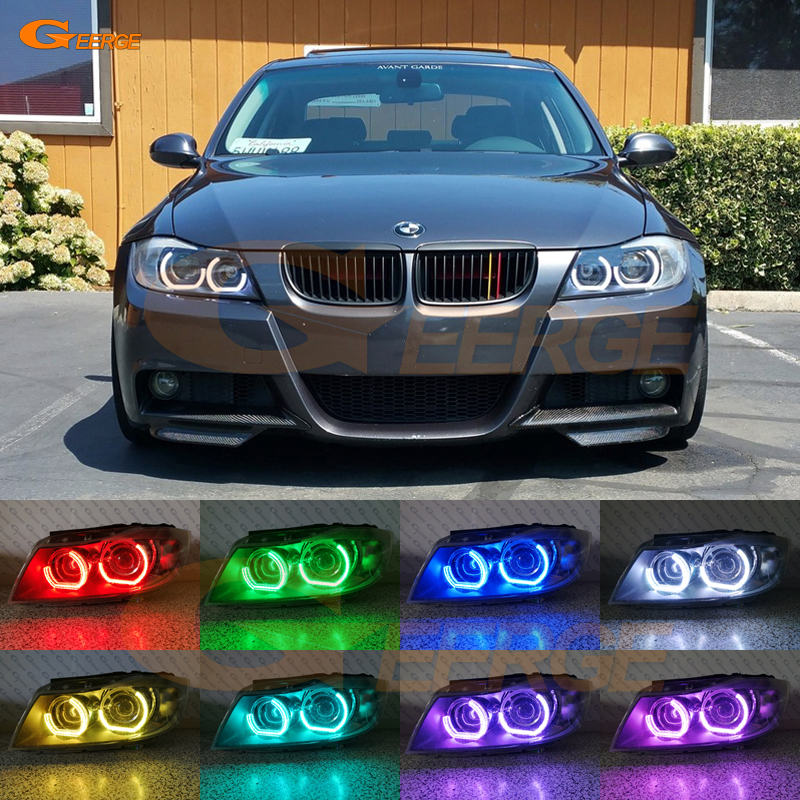 For BMW 3 Series E90 E91 2006 2007 2008 Xenon headlight Excellent DTM M4 Style Ultra bright Multi-Color RGB LED Angel Eye kit for bmw 5 series e60 e61 lci 525i 528i 530i 550i m5 2007 2010 xenon headlight ultra bright drl dtm m4 style led angel eyes kit