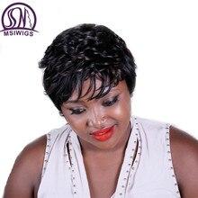 Msiwigs Короткие вьющиеся черные Synthétique Perruques волос с бликами Американский афро Ombre афро парик для женщин высокого Температура Fibra