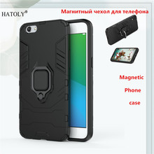 OPPO R9S Magnetic Phone Case For OPPO R9S Back Cover TPU+ PC Bumper Case Cover OPPO R9S Ring Holder Phone Capa Coque Funda цена и фото